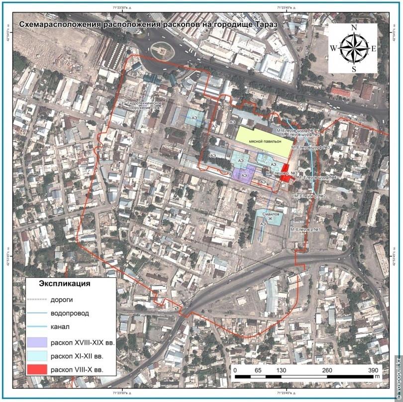 Схема розташування розкопок на території Тараза