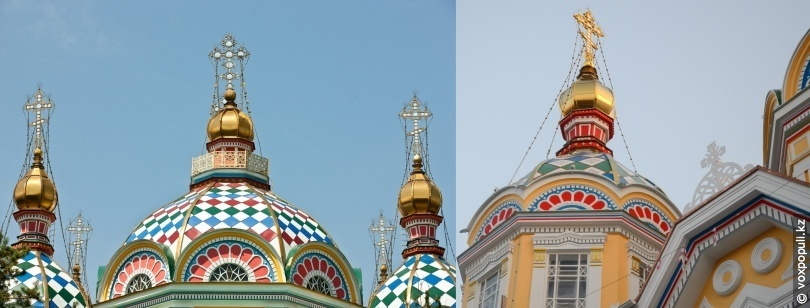 Купола собора до и после реставрации
