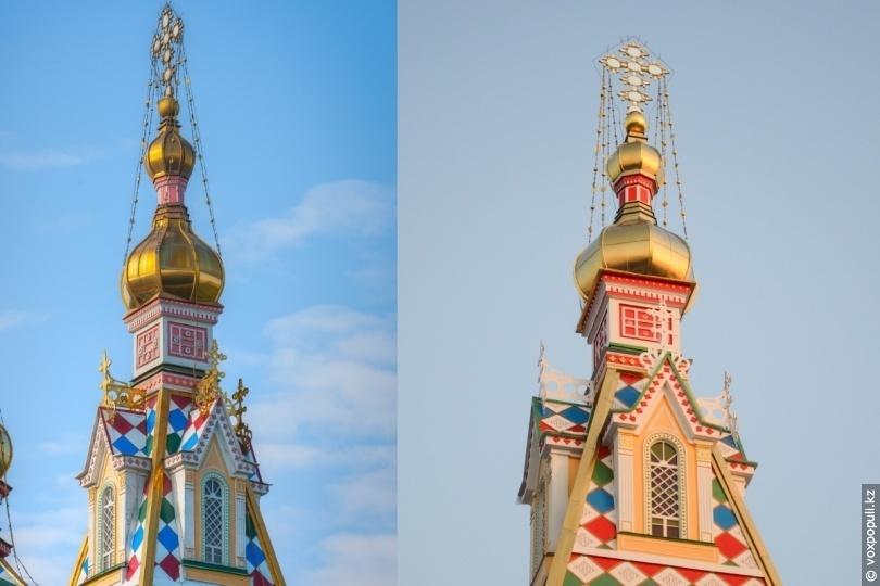 Колокольня собора до и после реставрации