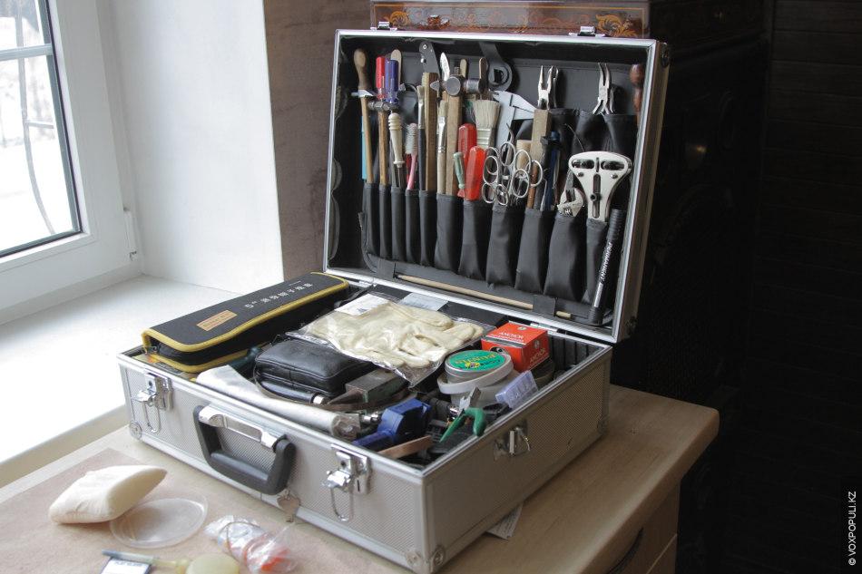 Петр располагает очень большим набором инструментов. В его арсенале множество отверток, молоточков, кисточек, плоскогубцев, щипцов,...