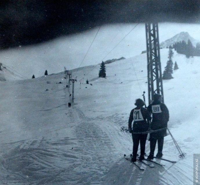 Бугельный подъемник доставлявший лыжников на склон.  После окончания войны из Альп в качестве трофея была вывезена...
