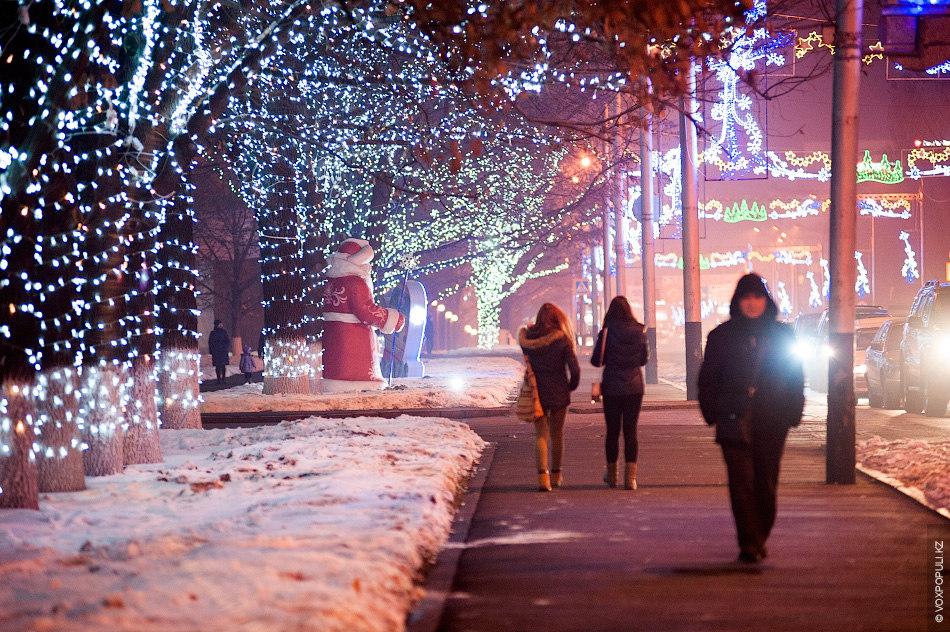 Сотни тысяч огней украсили деревья, растущие вдоль улицы Фурманова – одной из центральных улиц южной...