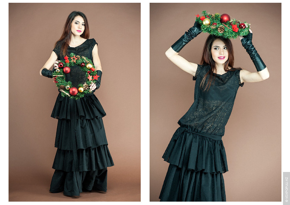 – Интересное черное платье (54000 тенге) с хлопковой тканью, которая очень напоминает кружево. Довольно тонкий...
