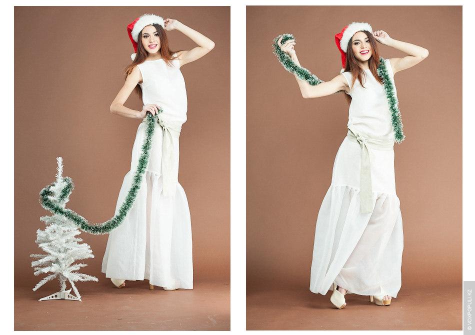 – В таком невесомом хлопковом платье с бежевой лентой (42000 тенге) вы станете легкой, как...