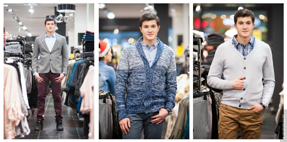 Образ №1. Пиджак серого оттенка (7990 тенге) и светло-голубая рубашка (2990 тенге). Чтобы образ не...