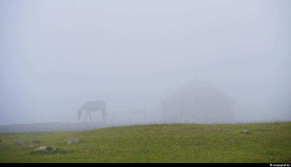 Утренний туман. Айжантас. Резкие перемены погоды в высокогорье часто мешали съемкам. Но иногда дарили и...