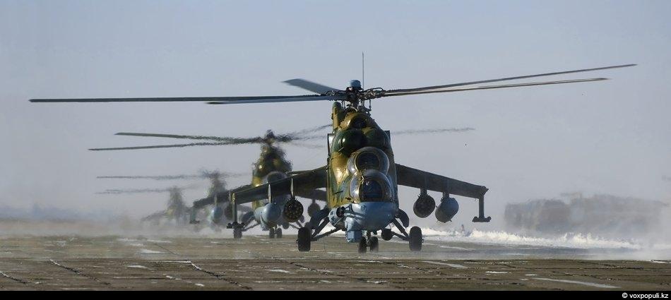 А это уже Учарал, где базируются боевые вертолеты Ми-24 В